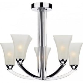 ARLINGTON Art Deco semi-flush 5 arm chrome ceiling light