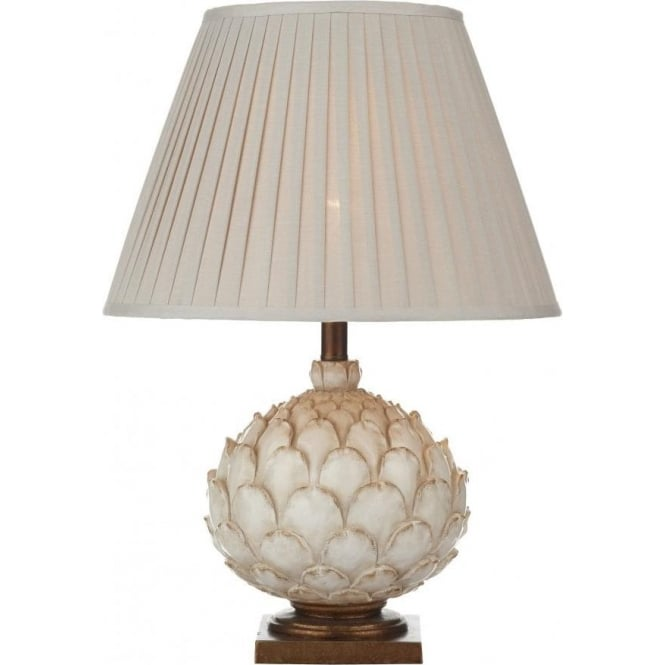 Cambridge Lighting ARTICHOKE distressed cream table lamp with shade (large)
