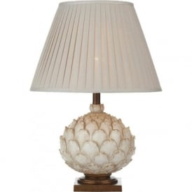 ARTICHOKE distressed cream table lamp with shade (large)