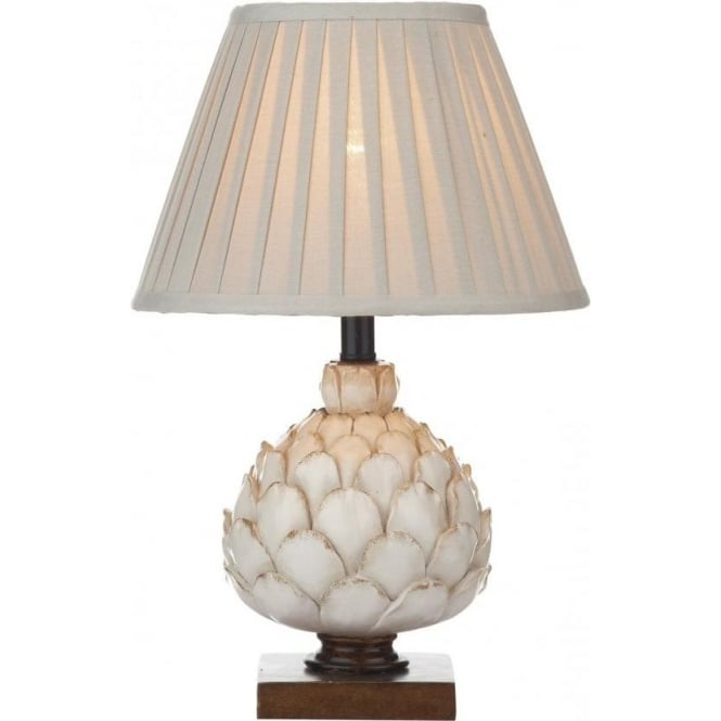 Artichoke ceramic table lamp with textured cream base on dark plinth artichoke distressed cream table lamp with shade small aloadofball Images