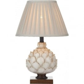 ARTICHOKE distressed cream table lamp with shade (small)