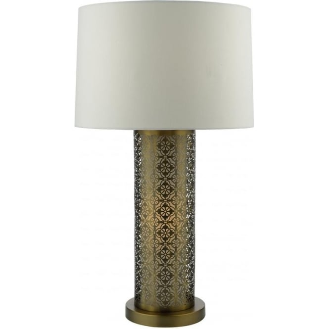 Cambridge Lighting ASWAN cylindrical fretwork table lamp with shade