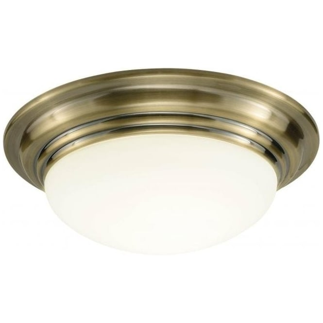 Traditional bathroom ceiling light barclay flush fitting ip44 barclay ip44 antique brass bathroom ceiling light mozeypictures Choice Image