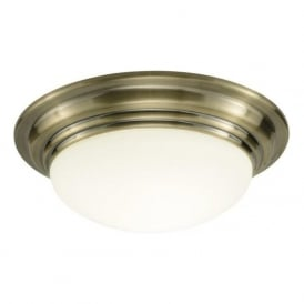 BARCLAY small antique brass flush bathroom ceiling light