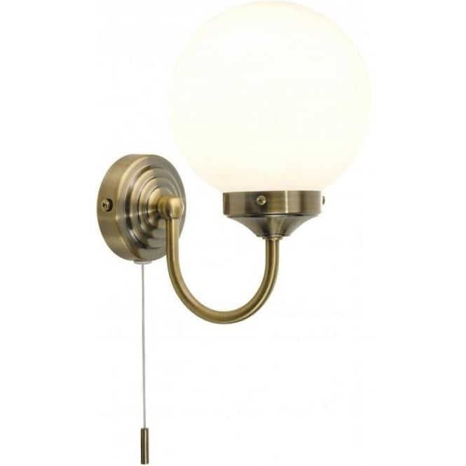 Traditional Bathroom BARCLAY Antique Brass Glass Wall Light IP44 Zone 1