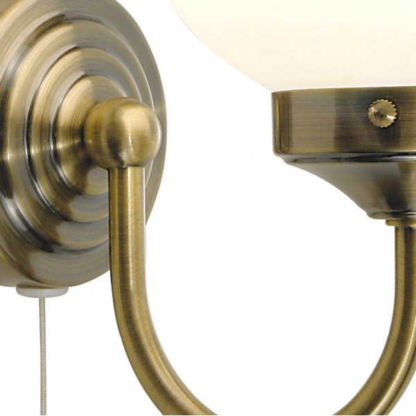 traditional bathroom barclay antique brass glass wall light ip44 zone 1. Black Bedroom Furniture Sets. Home Design Ideas