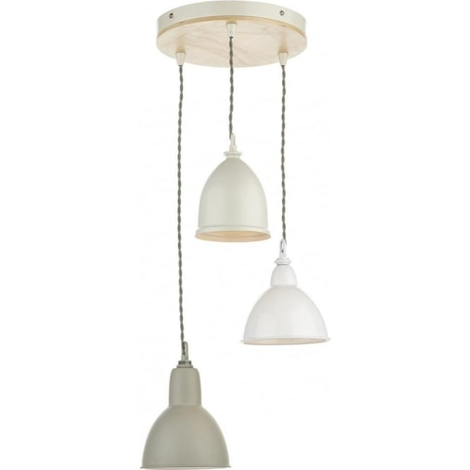 Cambridge Lighting BLYTON cluster of 3 retro style ceiling pendant lights with painted metal shades