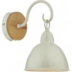BLYTON retro style wall light with cream painted metal shade