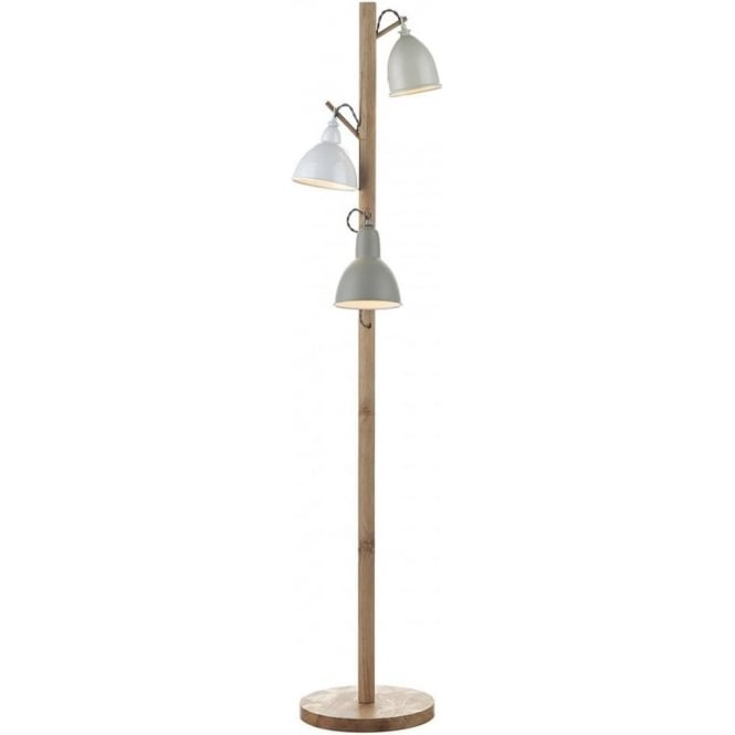 official photos 67e1e e0b07 BLYTON retro style wooden floor lamp with painted metal shades