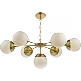 BOMBAZINE 7 light mid-century ceiling light with opal glass shades on brass fitting