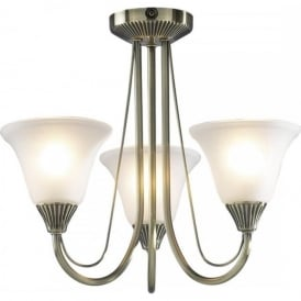 BOSTON 3 light antique brass semi flush low ceiling light
