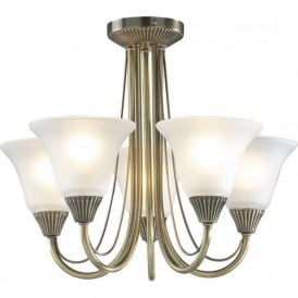 BOSTON 5 light antique brass semi flush low ceiling light