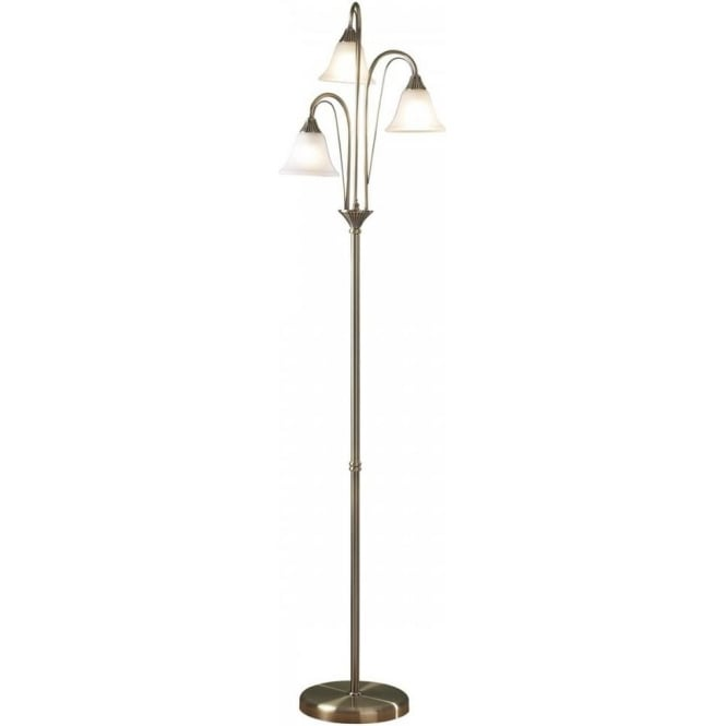 Traditional antique brass floor lamp with 3 glass shades for White victorian floor lamp