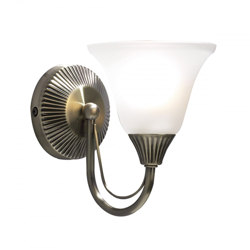 Avila Wall Light With Glass Shade : Single Antique Brass Wall Light, Traditional Ribbed Detail, Pull Cord