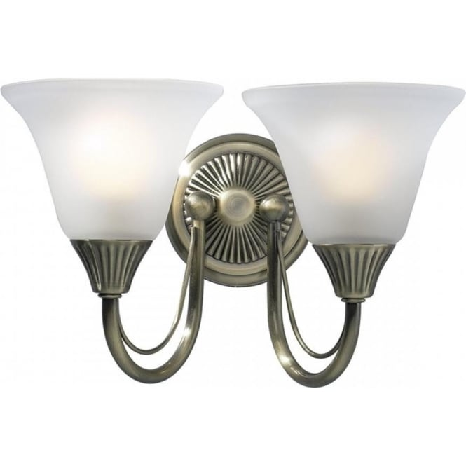 Cambridge Lighting BOSTON traditional double wall light in antique brass with glass shades