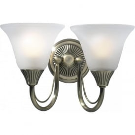 BOSTON traditional double wall light in antique brass with glass shades