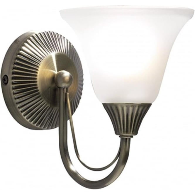 Single antique brass wall light traditional ribbed detail pull cord boston traditional single wall light in antique brass with glass shade aloadofball Image collections