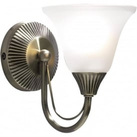 BOSTON traditional single wall light in antique brass with glass shade