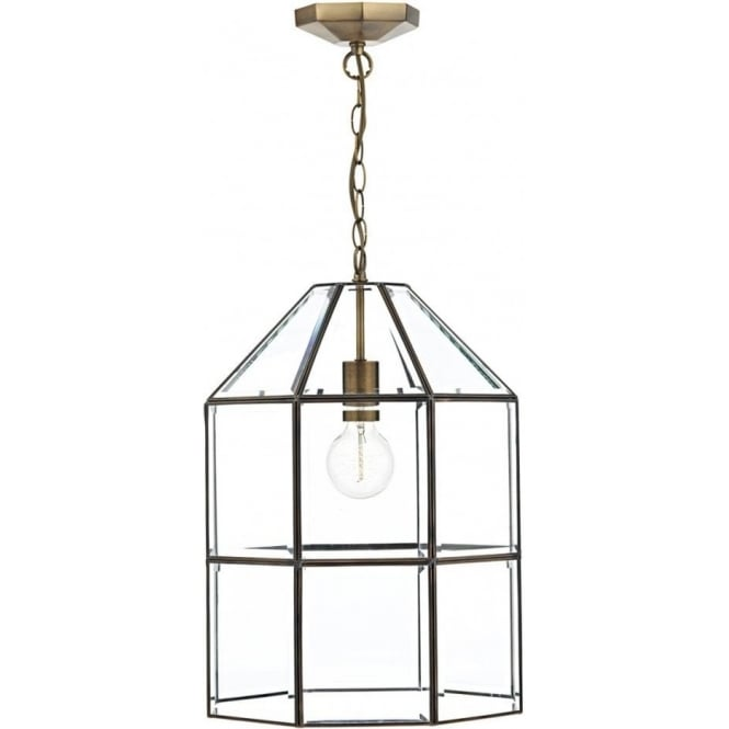 Cambridge Lighting CACHETTE antique brass cage lantern with clear bevelled glass panels
