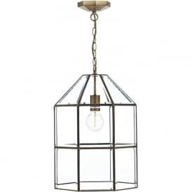 CACHETTE antique brass cage lantern with clear bevelled glass panels