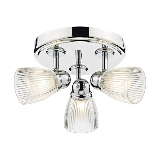 Modern Polished Chrome 3 Light Bathroom Ceiling Spotlight