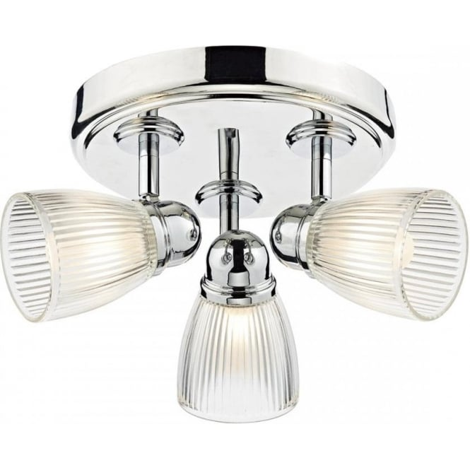 Cambridge Lighting CEDRIC IP44 bathroom spotlight cluster in chrome with ribbed glass shades
