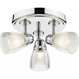 CEDRIC IP44 bathroom spotlight cluster in chrome with ribbed glass shades