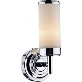 CENTURY bathroom wall light, Art Deco style in chrome and glass
