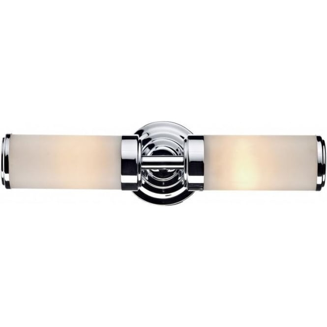 Ip44 twin bathroom wall light art deco style in chrome - Art deco bathroom lighting fixtures ...