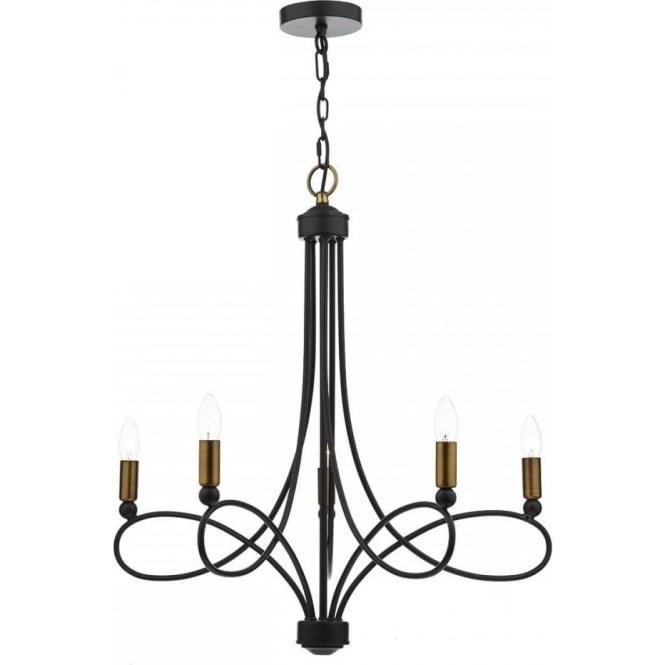 Matt black 5 light candle style chandelier with copper lampholders cosworth traditional matt black chandelier with copper accents aloadofball Images