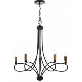 COSWORTH traditional matt black chandelier with copper accents