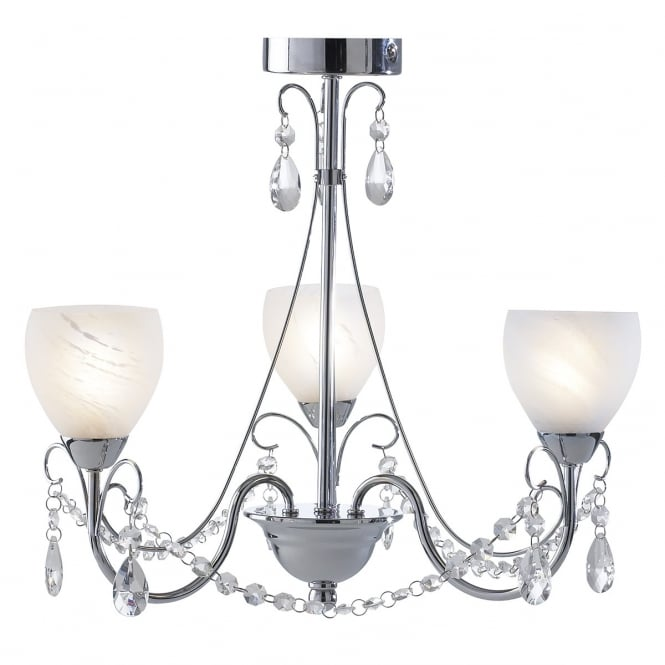 Cambridge Lighting CRAWFORD 3 light bathroom chandelier with alabaster glass shades