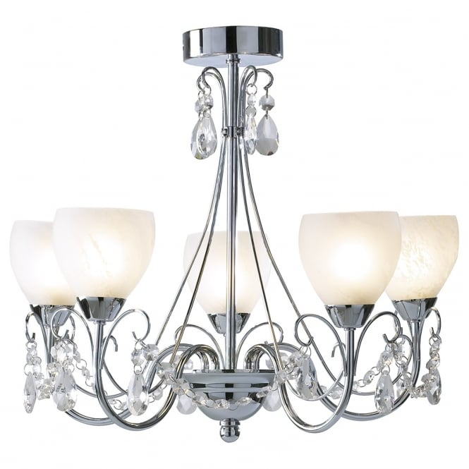 Cambridge Lighting CRAWFORD 5 light bathroom chandelier with alabaster glass shades