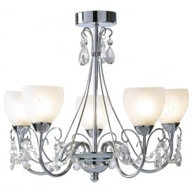 CRAWFORD 5 light bathroom chandelier with alabaster glass shades