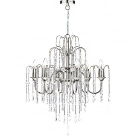DANIELLA 6 light crystal chandelier on polished nickel frame
