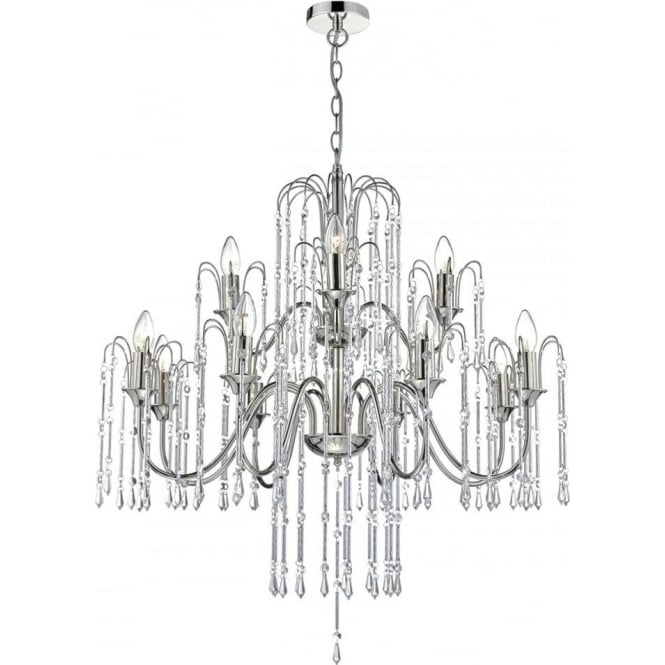Cambridge Lighting DANIELLA large 12 light crystal chandelier on polished nickel frame