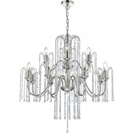 DANIELLA large 12 light crystal chandelier on polished nickel frame