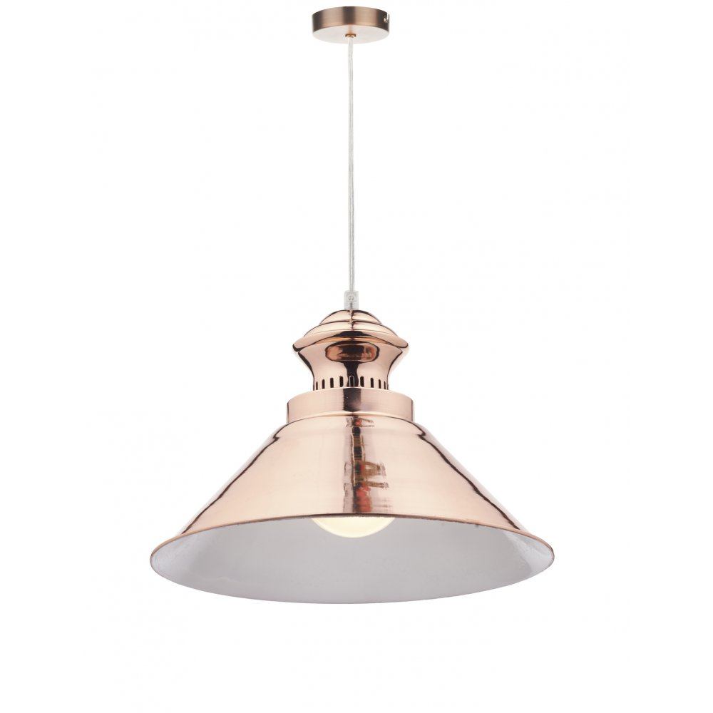 Retro copper ceiling pendant light with long drop for high for Pendant lighting for high ceilings