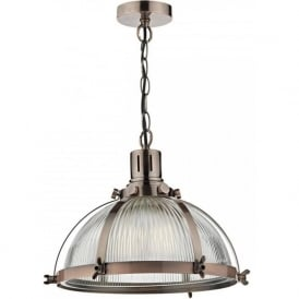 DEBUT ribbed glass ceiling pendant light with antique copper detailing