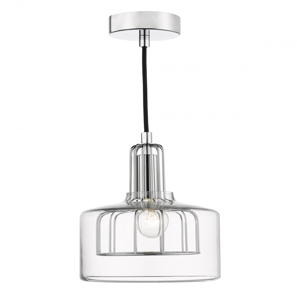 Industrial Design Ceiling Pendant Light, Chrome Cage And