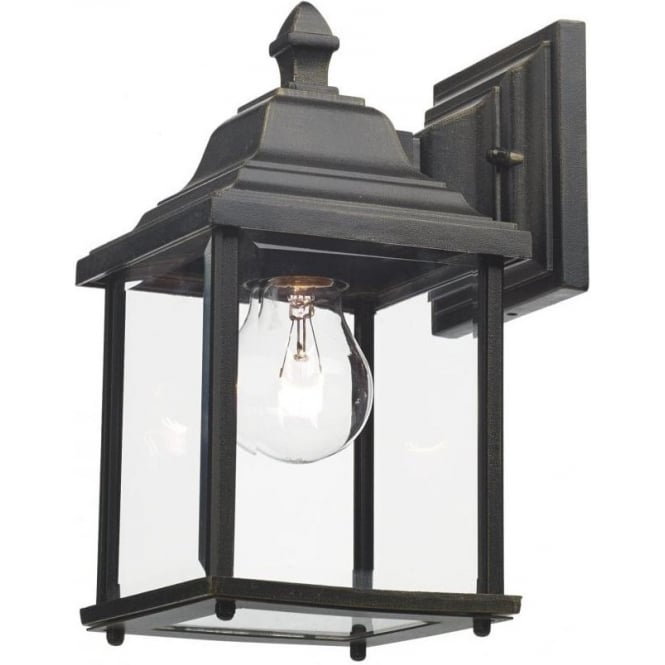 Exterior Garden Wall Light Black Gold Finish With Clear Glass
