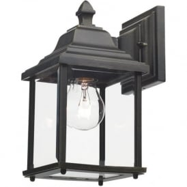 DOYLE outdoor garden wall lantern in black gold finish