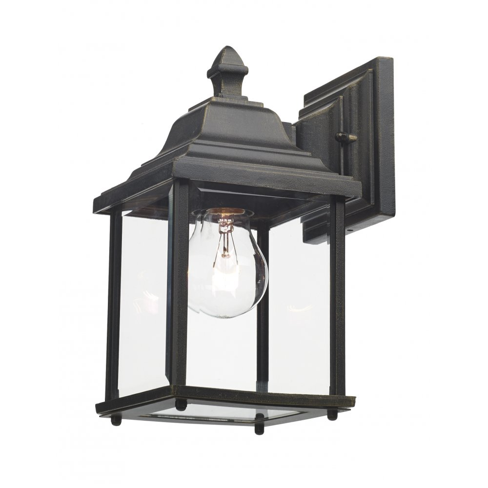 Outdoor Wall Lights Types: Exterior Garden Wall Light, Black Gold Finish With Clear Glass