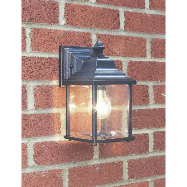 Outdoor Lighting Company: Exterior Garden Wall Light, Black Gold Finish With Clear Glass