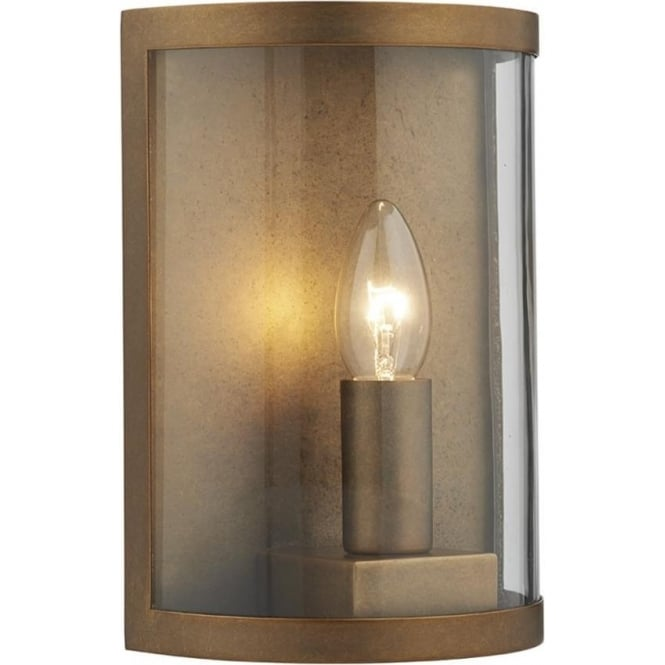 Fitting Outside Wall Lights : Traditional Rustic Aged Brass Outdoor Wall Light, IP44 Rated
