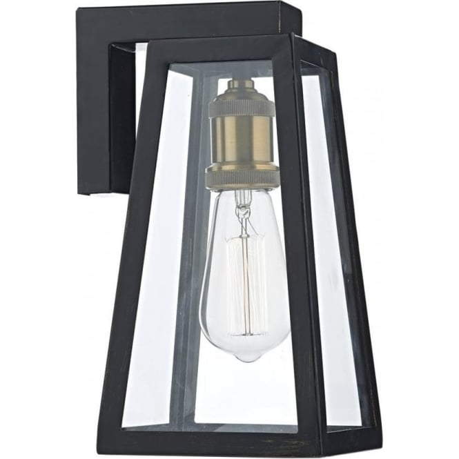 Wall Light Glass Panel : Black Indoor or Outdoor Wall Light Fitting with Clear Glass Panels