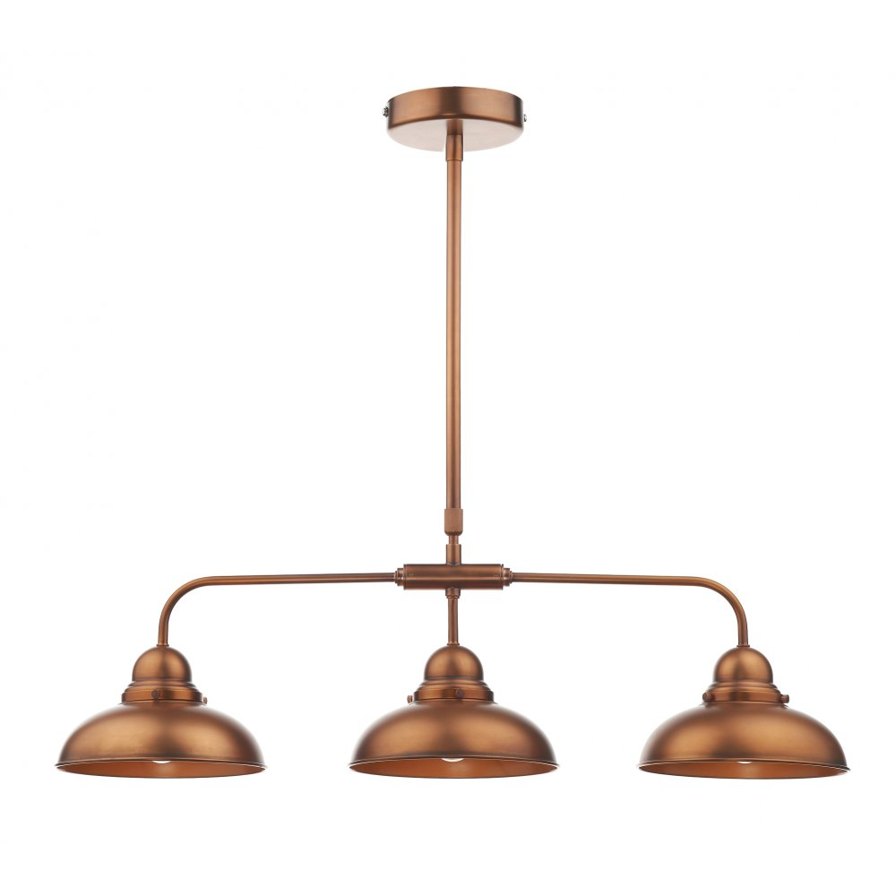 Led Industrial Kitchen Island Light Antique Finish With 3: Retro Style Antique Copper Kitchen Island Pendant With 3