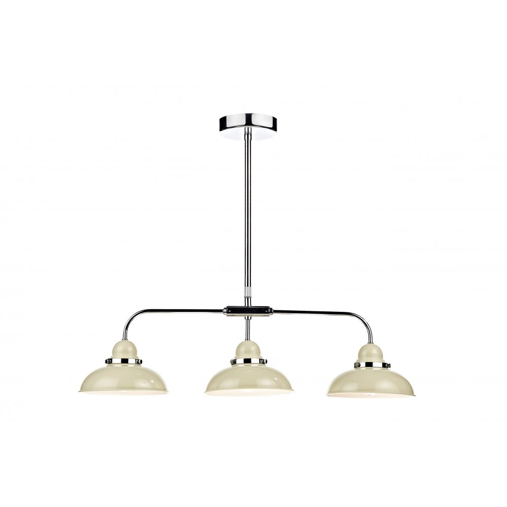 kitchen island pendant suspension with 3 chrome lights in retro styling. Black Bedroom Furniture Sets. Home Design Ideas
