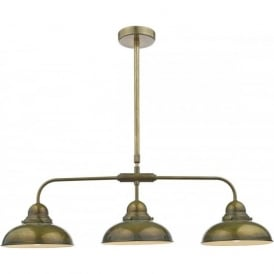 DYNAMO 3 light retro design bar pendant in weathered brass
