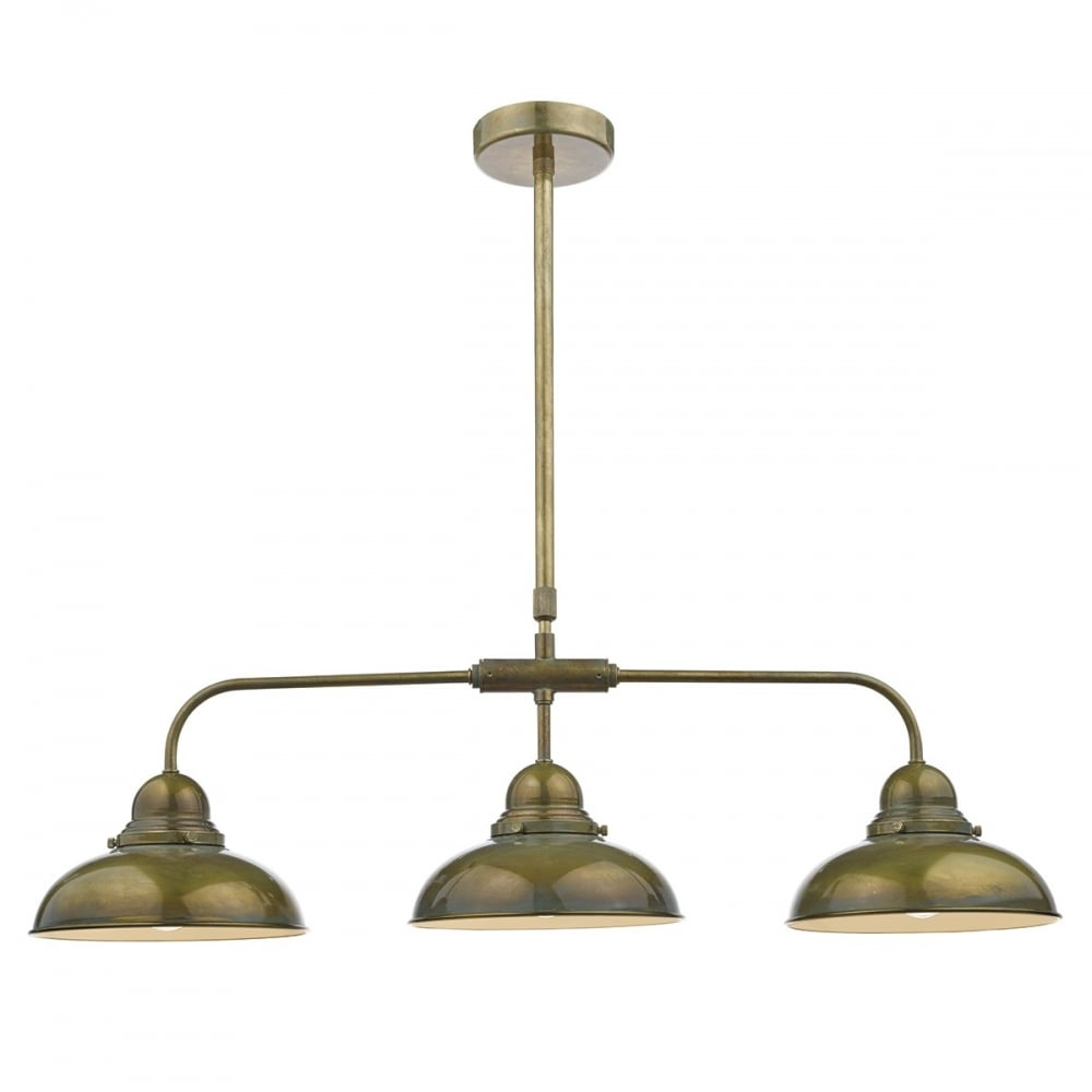 Retro Style Weathered Bronze Bar Pendant With 3 Lights